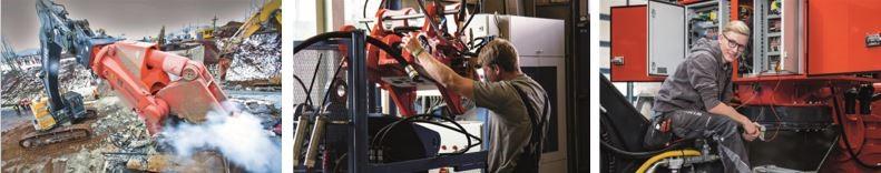 3 Bilder einmal Bagger und zweimal Metalltechniker bei der Montage im Werk