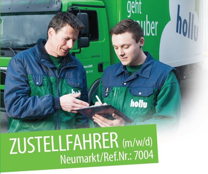 Bild Zustellfahrer und Lagerleiter im Hintergrund Logo der Firma Hollu