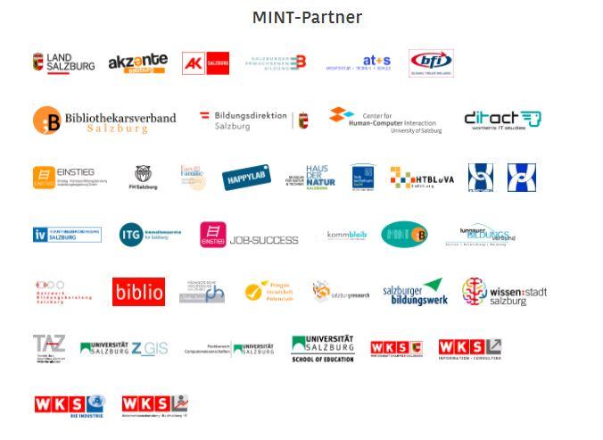 Auflistung von 41 Logos der unterschiedlichen MINT Partner in Salzburg