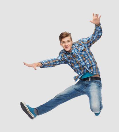 Bild springender Lehrling