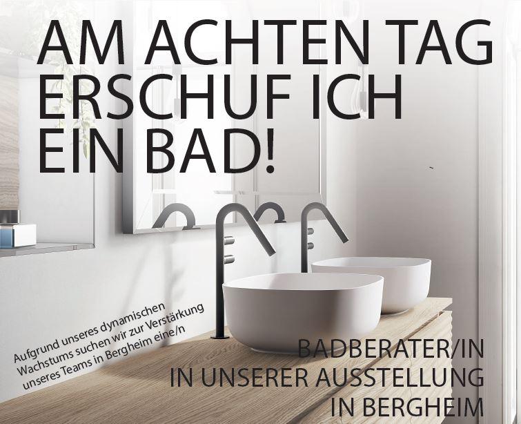 Produktbild elegante Waschbecken mit Werbetext am achten Tag erschuf ich ein Bad